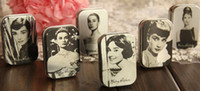 Wholesale Audrey Hepburn painting series Mini Tin Box Retro Metal Jewelry Case Storage