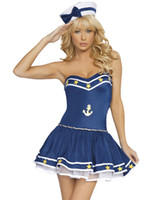 Wholesale Sexy Uniform Tubes - Cosplay Navy Sailor Adult Sexy Costumes For Women Blue Sailor Girl Costume Nautical Patches Tube Dress Uniforms Outfits SM8810