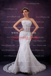 Wholesale 2013 Fall Sexy Elegant Mermaid Wedding Dresses Strapless Lace Corset Sheer Tulle Chapel Bridal Gown