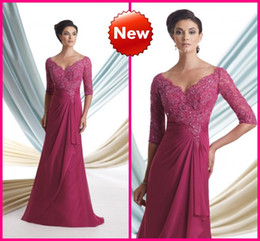 Wholesale 2013 Chiffon Sexy V Neck Sheer Half Sleeves Long Mother of the Bride Dresses Dark Fuchsia Appliques