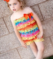 lace petti rompers - baby petti rompers tiered ribbon jumpsuits tutu bow overalls gallus layered lace ruffle rompers P385