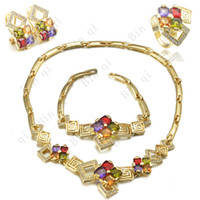 Wholesale Fashion Jewelry Austrian Crystal with Gold Set Earrings amp Ring amp Necklace amp Bracelet GD067