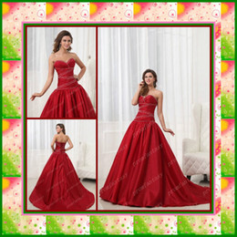 Wholesale 2013 Cheap Strapless Sweetheart Neckline Lace up Beaded Wine Red Satin Ball Gown Quinceanera Dresses
