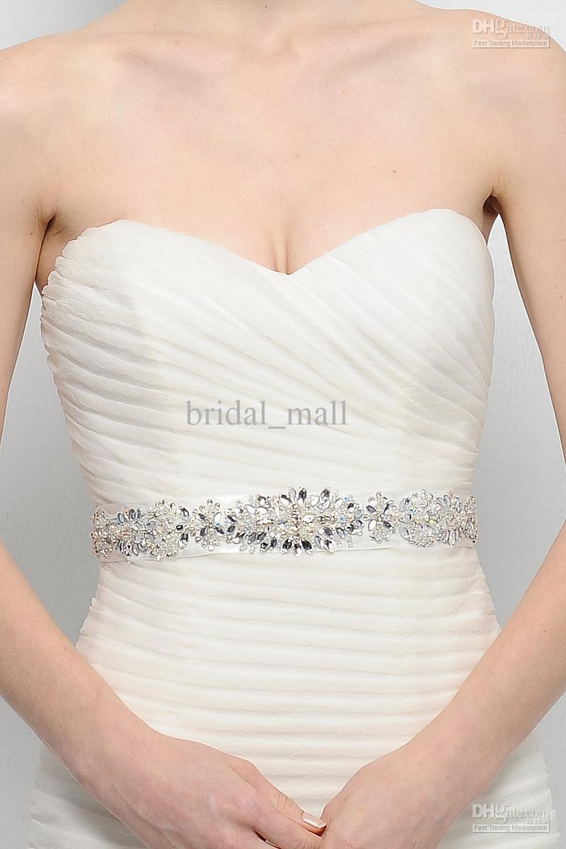 Clear crystal beaded sash wedding dress belt wedding for How to make a beaded belt for a wedding dress