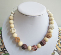 Wholesale Mommy Organic Teething bead necklace Nursing necklace Crochet Necklace coffee brown NW467