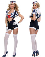 Women adult booty shorts - Halloween Sailor Theme Costume Sexy Cosplay Adult Nautical Sailor Costume Strap Booty Shorts with stripe top piece suit match a hat SM8821