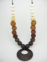 Wholesale Mommy Organic Teething bead necklace Nursing necklace Crochet Necklace coffee wooden ring NW475