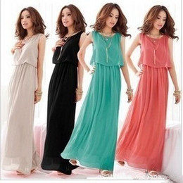 Wholesale Women Bohenmia Pleated Wave Lace Strap Princess Chiffon Maxi long dress Four Colours