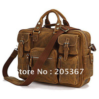 Brown bag crazy horse - 7028B Rare Crazy Horse Leather Men s Tote with Briefcase Laptop Bag Business Bag Hot Sell