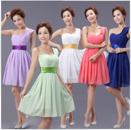 New Cheap Elegant One-shoulder Chiffon Colorful Knee Length Bridesmaid Dresses Wedding Party Dresses