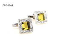 Wholesale Good Quality Royal Topaz Diamond Solitaire Crystal Platinum Men French Cufflinks Silver Cirtrine