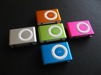 Wholesale metal clip mp3 player with TF Card Slot with usb cable earphone crystal boxes Colors