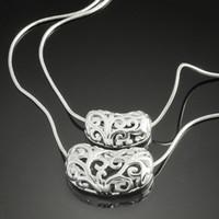 Traje de plata 925 collar de joyería de encanto de doble cubierta ahuecar colgante de moda collar de las mujeres baratos de China al por mayor o en granel