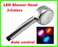 Wholesale 20pcs Color LED Light Shower Head Water Temperature Sensor Changing Automatic Control Sprink