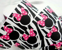 Wholesale BLack and White Cartoon Zebra Printing Bow Design Grosgrain Ribbon Har Accesory DIY Craft mm