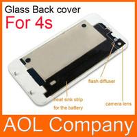 al por mayor iphone 4s puerta-Volver de cristal cubierta de batería de la puerta el reemplazo de la parte con difusor de flash para el iPhone 4 4S 1PC