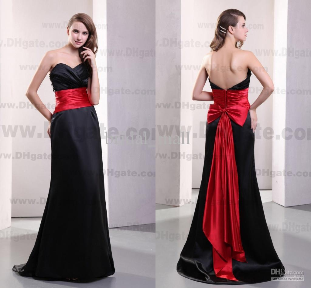 Real image sweetheart rose red satin sash black bridesmaid for Red and black wedding dresses for sale