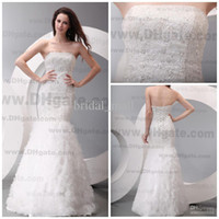 Wholesale Best sale strapless sequence beaded soft tulle mermaid white lace brides wedding dresses BM611