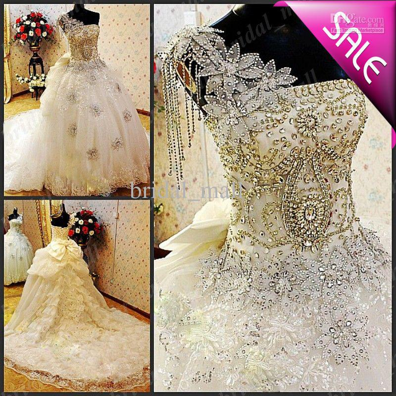 2015 Sexy Popular Wedding Dresses Crystal Beaded Floral One ...