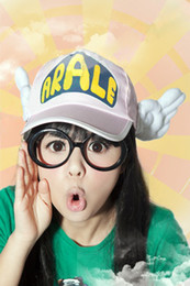 Wholesale Dr Slump Arale cosplay angel wig cap hat for adult colors choice free glass
