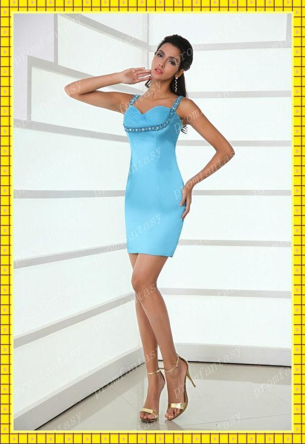 2013 Light Blue Short Sexy Night Club Dresses Crystal Beaded ...