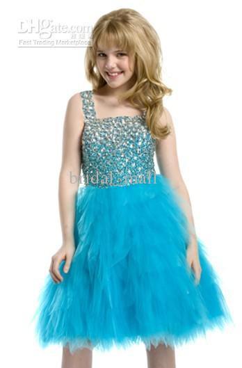 2014 Hot Sale Formal Girl's Dress Shinning Beaded Square Neckline ...