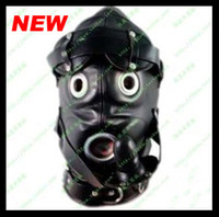 sex mask - Newest Soft leather bondage Hood Mask eyepatch SILICONE dildo Mouth Plug Headgear Sex product toys