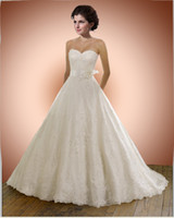 Wholesale Elegant Sweetheart Lace Applique Organza Bow Sash Bride Ball Gown Wedding Dresses Bridal Dress Gown