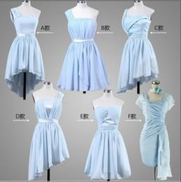 New Cheap Elegant 5 Styles Chiffon Colorful Knee Length Bridesmaid Dresses Wedding Party Dresses