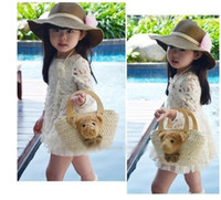 A-Line white lace skirt - Children flower creamy white skirt kids lace dress Korean girl Clothes Autumn baby dresses