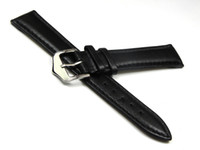 Wholesale 20mm Buckle mm New High Quality Black Smooth Waterproof Soft Genuine Leather Watch band Watch St