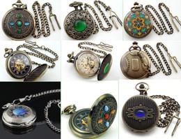 Wholesale Divers Opal Stone montre mécanique de poche Vert Bleu Rouge Cristal Lucky Charm Pendentif Chaîne Montres