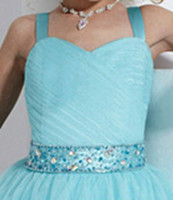 Wholesale 2014 Lovely Sequins Crystal Ruffles A Line Tulle Girl s Pageant Flower Girl Dresses With Spaghetti Neckline F15
