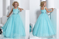 Wholesale Beads Rhinestone Ruffle White Blue Spaghetti Tulle Girls Formal Occasion Ball Gown Floor Length F15