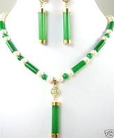 green white jade - green jade white pearl necklace earrings set