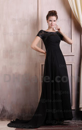 Wholesale 2013 Sexy New Short Sleeves Chiffon Beaded Applique Black Mother Of The Bride Dresses DHgate00162