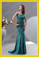 Wholesale 2013 Sexy Off Shoulder Long Crystal Bead Dark Green Elastic Satin Sheath Mother of the Bride Dresses