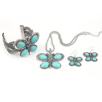 Wholesale MN2166 three pieces butterfly Turquoise Jewelry Set Vintage Tibet Silver Necklace Earring bangle Set