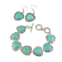 Wholesale Heart Turquoise Bracelet Earring Jewelry Sets