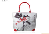 Wholesale Qltrade_2 Printing women bag tote handbags water lily canvas bag red