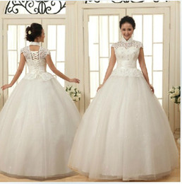 Newest Design ! Fashion High-Necked Lace-Up Bride Princess Tulle Wedding Dress