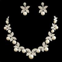 perle ensemble de bijoux avec l'élément Swarovksi strass NJ-575 blanc 925 bijoux en argent nuptiale clair Va