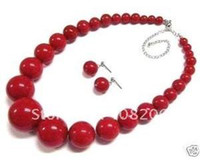 Jewelry Sets red coral beads necklace - jewelry red coral bead necklace earring Sets Jewelry Set