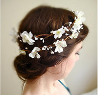 Wholesale wedding accessories headwear White cherry blossoms bride headwear bride wreath