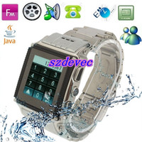 Wholesale W818 Fashion Stainless Steel Waterproof Watch Mobile Phone FM Java MSN Touch Screen Watch Sing