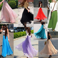Wholesale Summer Boho Maxi Chiffon Skirt Dress For Women Elastic Waist Pleated Beach Party Skirt Sexy Ladies Girls Strapless Long Dresses Multi Colors
