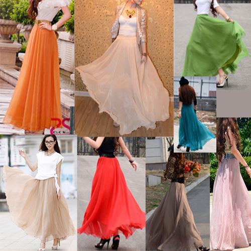 2016 Boho Dress Skirt Fashion Women&39S Maxi Pleated Chiffon Dress ...
