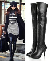 Wholesale Women s Classic Genuine Leather Platform Over Knee Thigh High Heel Boots Size US SH033