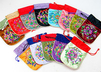 Chirstmas Jewelry Pouches,Bags  Drawstring Travel Jewelry Pouches Chinese Embroidered Small Gift Bags 50pcs lot mix color Free