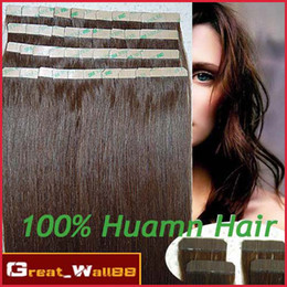 Wholesale 4sets Indian Human Tape Skin Weft Hair Extensions inch g Light Brown A Quality